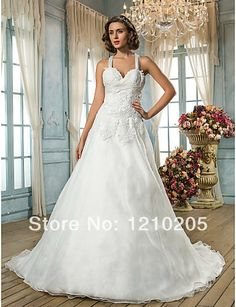 Free Shipping A-line Princess Straps Sweep/Brush Train Organza Wedding Dress 1441228 $121.39