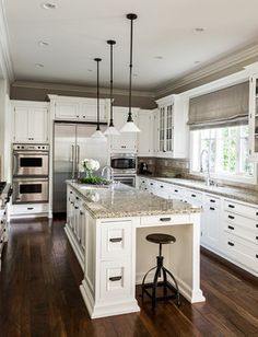 Traditional Kitchen With Stained Black Walnut Floors, Painted White  Cabinetry And Granite Countertops   By L Design Interiors