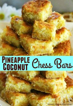 Pineapple Coconut Chess Bars - melissassouthernstylekitchen.com