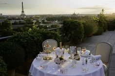 """The best hotel rooftops, balconies, and terraces. On the rue de Rivoli between the Louvre and the Place de la Concorde, LE MEURICE hotel is in """"the best location in all of Paris, especially for museum lovers. Paris Hotels, Hotel Paris, Paris Paris, Paris Cafe, Le Meurice, Romantic Places, Romantic Dinners, Beautiful Places, Paris France"""