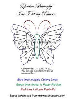 iris folding patterns free printables | Golden Butterfly Iris Folding Pattern