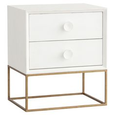 Redford House Spencer Nightstand @LaylaGrayce - in walnut with antiqued gold base. Switch out knobs.