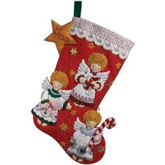 Bucilla 18-Inch Christmas Stocking Felt Applique Kit, Candy Angels