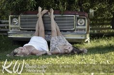 Gorgeous Country Girls Leaning on an Old Truck | Kendall Walters Photography