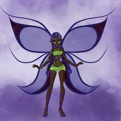 Black/purple fairy in leaves and swirls
