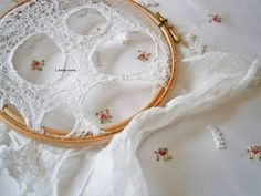 lace, silk and cross stitch