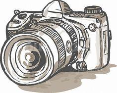 hand sketch drawing illustration of a digital SLR camera. drawing of a digital SLR camera