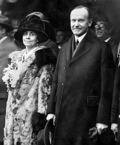 President Calvin Coolidge and First Lady Grace Coolidge posed for a Tribune photographer after they arrived in Chicago to attend a stock show in 1924.