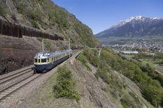 BCFe 4/6 736 der BLS (Bern - Lötschberg - Simplon - Bahn) zwischen Brig und Lalden, Schweiz Swiss Railways, Bonde, Travelogue, My Ride, The Unit, Pictures, Trains, Europe, Explore