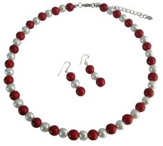 red/white pearl necklace & earrings