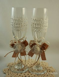 Wedding Wine Glasses Rustic Wedding Champagne Flute by LaivaArt, $40.00 #wedding…