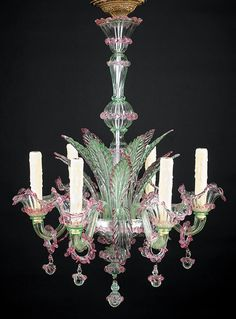 Diminutive Murano Glass Six-Light Chandelier, early 20th c., pale green and lavender, vasiform standard, bowl issuing leaves and foliate arms, electrified, h. 29 in., dia. 21 in. Antique Lamps, Antique Lighting, Murano Chandelier, Chandelier Lighting, Art Deco Lamps, Crystal Glassware, Led Ceiling Lights, E Design, Glass Art