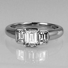 Three stone emerald cut diamond ring in rub-round platinum setting Emerald Cut Diamond Engagement Ring, Emerald Cut Diamonds, Bezel Diamond Rings, Gem Hunt, Jewelry Rings, Jewelry Box, Diamond Are A Girls Best Friend, Vintage Rings, Jewels