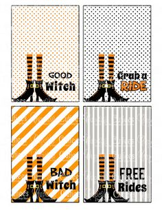 Witches Treats- Brooms and Tags- Party Store