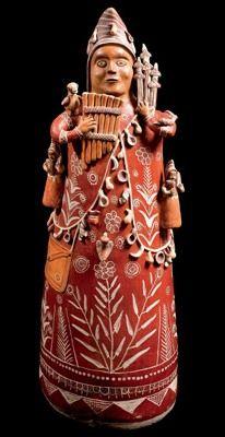 """""""Músico"""" creado por el peruano Mamerto Sánchez Cárdenas en el año 2009, con barro modelado, pastillaje, policromado con tierras y bruñido."""