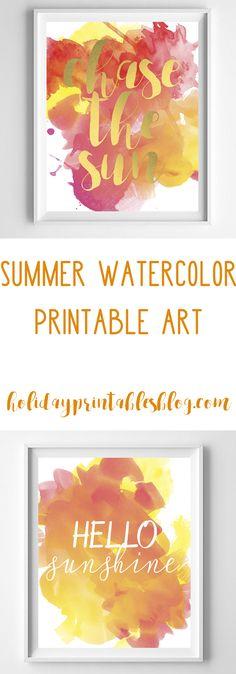 Summer Free Printables | Summer Printable Art | Watercolor Art | Chase the Sun | Beach Decor | Coastal Wall Art | Hello Sunshine