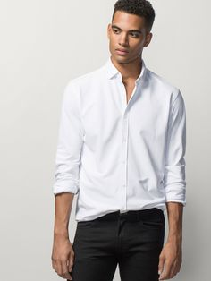 WHITE SHIRT WITH ELBOW PATCHES - MASSIMO DUTTI -