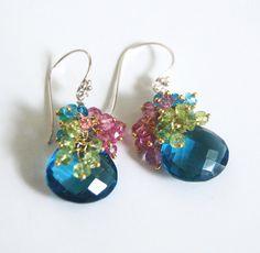 Cuarzo azul de Londres y peridot rosa azul por ferozasjewelry