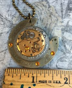 Excited to share the latest addition to my #etsy shop: SALE Steampunk Men's or Womens Elgin Watch Necklace, Techno Jewelry, Men's Gift, Crystal Necklace, Unique Necklace, Handmade Necklace #accessories #watch #gold #oneofakind #antique #vintage #pocketwatch #elginwatch #uniquenecklace