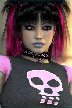 Gothic Pink by on DeviantArt Gothic Pictures, Gothic Images, Vintage Goth, Victorian Goth, Hot Goth Girls, Gothic Girls, Rocker Makeup, Rockabilly, Heavy Metal Girl