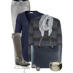 """""""Comfy Navy & Grey"""" by ccroquer on Polyvore"""