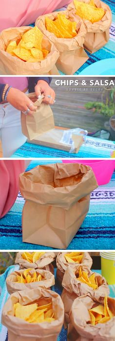 Paper Bag Chip Holder | DIY Cinco de Mayo Party Ideas Decorations | Easy Fiesta Party Ideas for Kids Mexican
