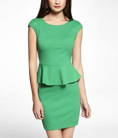PONTE KNIT PEPLUM DRESS at Express. Purchased for a wedding next month. Hope it fits!