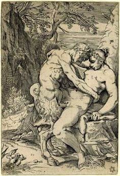Full: Front A satyr and nymph embracing; in a landscape of trees a nymph seated on a rock with a satyr standing making love to her. Engraving © The Trustees of the British Museum Mythological Creatures, Green Man, Gods And Goddesses, Gravure, Book Of Shadows, British Museum, Erotic Art, Dark Art, Magick
