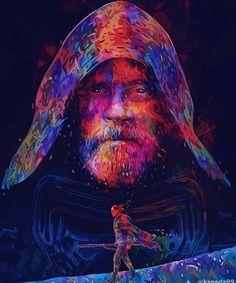 Luke and Rey artwork.<<and kylo ren's helmet