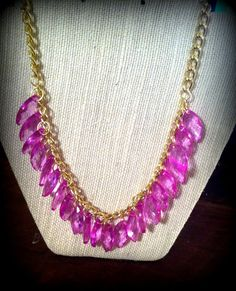 Fuchsia Teardrop Statement Necklace by ShopBlushing on Etsy