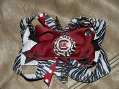 5.5 inch Zebra/Gamecock bottlecap Bow $8.50  can be made in any size!!   ©2011Hairbows*N*More