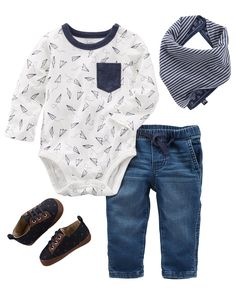 Can you say handsome?! This cool and casual outfit features comfy pull-on pants, crib shoes, a paper plane-adorned bodysuit and fun reversible bandana bib. Also available in Baby Boy B'gosh 0-24M