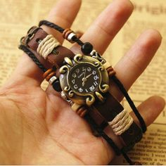 Leather Bracelet Watch for Women Brown Leather Strap Watch, Leather Watch Bands, Beaded Watches, Fancy Schmancy, Leather Projects, Fashion Watches, Beaded Jewelry, Bracelet Watch, Bracelets