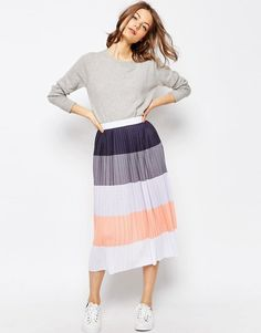 Image 1 of ASOS Pleated Midi Skirt in Color Block