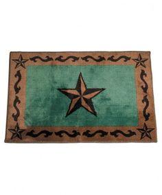 Turquoise Star Bathroom Western Rug