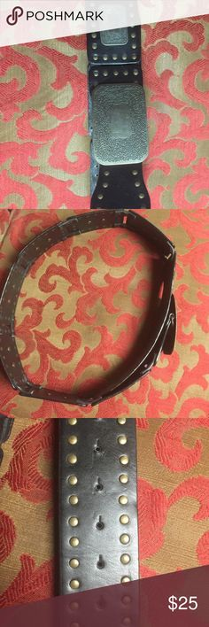 """Wild Leather and Metal Statement Belt 39"""", adjustable.  Heavy, organic, awesome belt good for cowboy or tribal styling. 3"""" wide. Hard leather. Black and brass. Accessories Belts"""