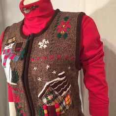 UGLY CHRISTMAS SWEATER Vest Medium M med Brown Plaid! Snowman! and a Charlie Brown Tree! by UglySweaters4U on Etsy