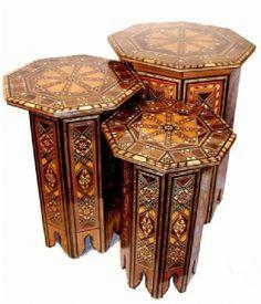 Mosaic Wood Tables #vintagemaya #mosaic #handcraft #home decor #wooden furniture #table mosaic