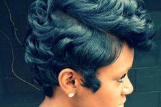 Photo Credit: Atlanta, GA Hairstylist @MrsKJ5 Short Sassy Hair, Short Hair Cuts, Short Hair Styles, Pixie Styles, Pixie Cuts, Short Pixie, Short Relaxed Hair, Dope Hairstyles, Black Hairstyles