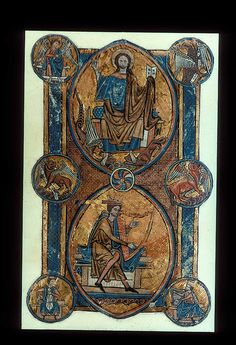One of seven extant full-page miniatures from a lost psalter associated with William de Brailes, an artist working in Oxford,1238-52 (see Image 155). This leaf shows the seated figure of Christ blessing, while trampling on the lion and the basilisk, and below, Christ's ancestor, King David, playing the harp. Within the frame, in roundels, are the four symbols of the Evangelists, and below, musicians