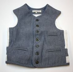 Thomas Vest - Pin Stripe Denim