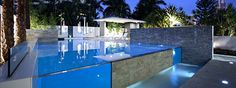 Glass & Stone Swimming Pool ! ErthCOVERINGS Fossil Cascade stone