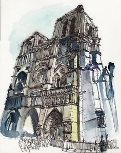 Notre Dame - Watercolor/Ink on Watercolor paper