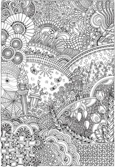 Dover Publications Creative Haven Insanely Intricate Entangled Landscapes Coloring Book Adult Coloring Book Pages, Free Coloring Pages, Printable Coloring Pages, Coloring Sheets, Coloring Books, Zentangle Patterns, Zentangles, Dover Publications, Color Me Beautiful