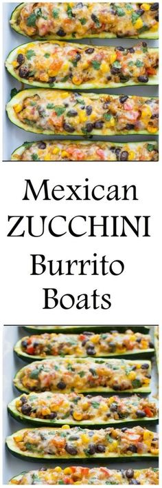 Zucchini Burrito Boats are a simple meatless and gluten-free meal packed full of Mexican flavor! INGREDIENTS: 4 large zucchini 1 (15 ounce) can black beans, drained and rinsed 1 cup cooked brown rice 1 cup salsa (use your preferred level of spiciness) 1 red bell pepper, cored and diced 1/2 red onion, diced 1/2 cup corn kernels 1 jalapeno (or poblano pepper), cored and diced 1 tablespoon + 1 teaspoon olive oil 2 teaspoons cumin 1 teaspoon chili powder 1/2 cup fresh cilantro, fi...