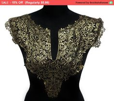 Check out SALE NEW Black and Gold Lace Necklace Applique Collar for Garments and Crafts on kbazaar