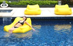 Bean Bag Chair IN the POOL! Oh yes, bliss coma time