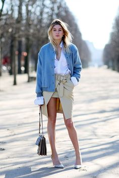 beige skirt, white shirt and denim jacket