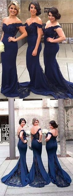 fashion off the shoulder bridesmaid dress, elegant mermaid wedding party dress with lace B0630
