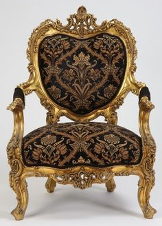 Befitting of the Beast himself, a rococo gilt-wood arm chair. (Italian 19th century)  ~Splendor